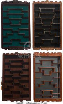 FOUR CHINESE CARVED HARDWOOD SNUFF BOTTLE WALL DISPLAY CABIN