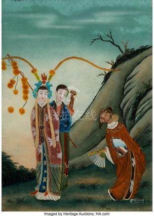 A CHINESE REVERSE-PAINTED GLASS PANEL, LATE QING-EARLY REPUB