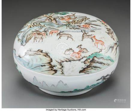 A LARGE CHINESE ENAMELED PORCELAIN COVERED BOX WITH DEER MOT