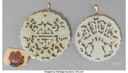 TWO CHINESE CARVED AND RETICULATED WHITE JADE PENDANTS 2-1/4