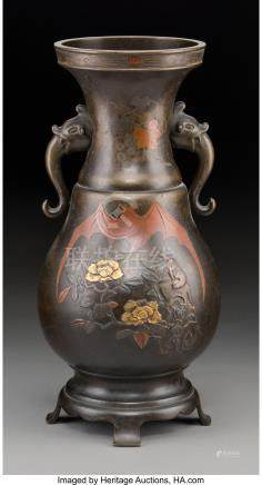 A CHINESE PATINATED BRONZE VASE WITH BAT AND FLORAL MOTIFS,