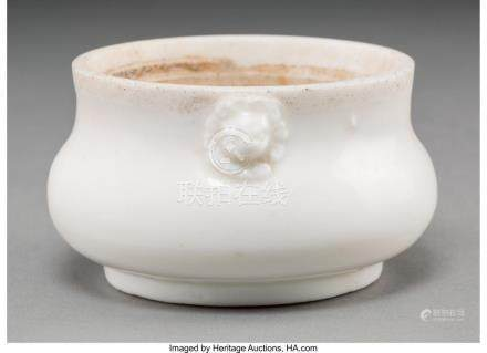 A CHINESE BISCUIT PORCELAIN CENSER-FORM BRUSH WASHER 2 INCHE