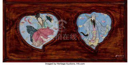 FOUR CHINESE PORCELAIN AND CARVED HARDWOOD PANELS, EARLY REP
