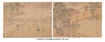 TWO CHINESE SILK PAINTING ALBUM FOLIOS, QING DYNASTY 12-5/8