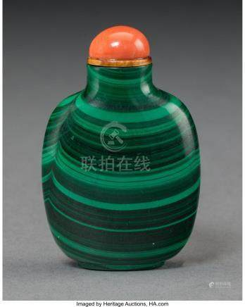 A CHINESE CARVED MALACHITE AND CORAL SNUFF BOTTLE 2-1/2 INCH