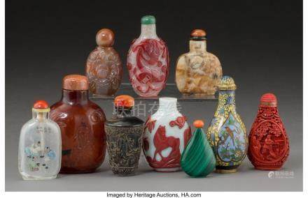 A GROUP OF TEN CHINESE SNUFF BOTTLES 3-3/8 INCHES HIGH (8.6