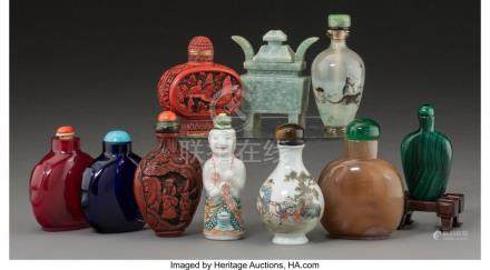 A GROUP OF TEN CHINESE SNUFF BOTTLES 3-1/8 INCHES HIGH (7.9