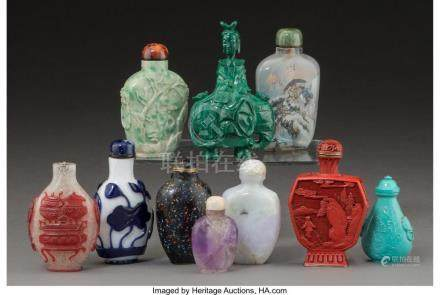 TEN CHINESE SNUFF BOTTLES 3-3/8 INCHES HIGH (8.6 CM) (TALLES