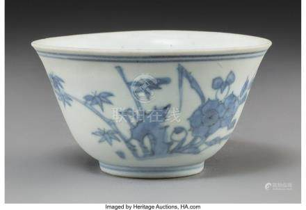 A CHINESE SHIPWRECK BLUE AND WHITE PORCELAIN CUP, MING DYNAS