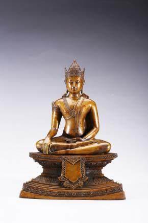 A bronze figure of seated bodhisattva