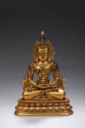 A gilt-bronze Amitabha