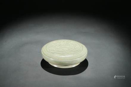 A Yue ware celadon glazed 'phoenix' cover box
