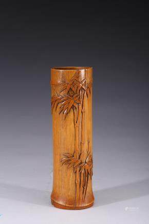 A bamboo carved 'bamboo' brushpot