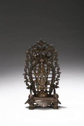 A bronze cast figure of Vishnu