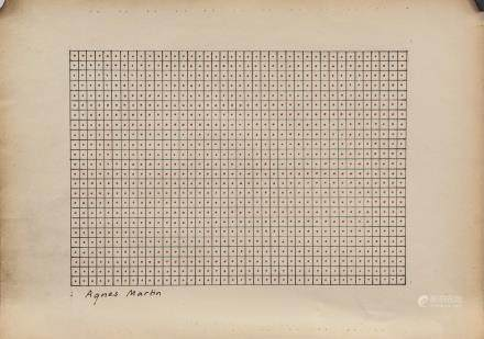 AGNES MARTIN American-Canadian 1912-2004 Ink/Paper