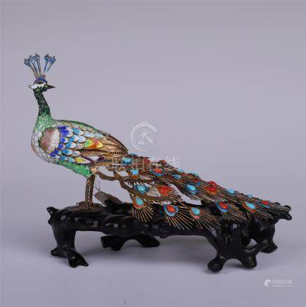 CHINESE ENAMEL PEACOCK TABLE ITEM
