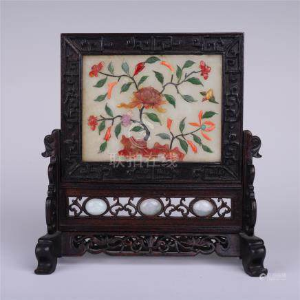 CHINESE GEM STONE INLAID ROSEWOOD TABLE SCREEN