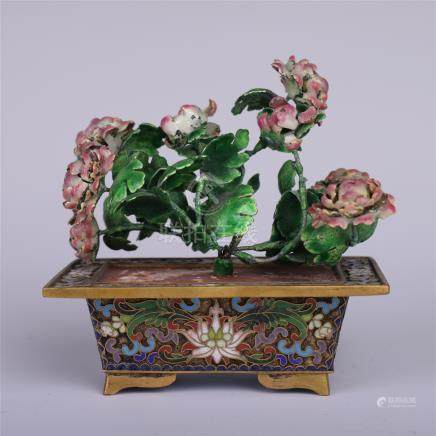 CHINESE JADE FLOWER BENSAI IN ENAMEL BASIN