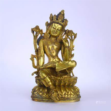 CHINESE GILT BRONZE SEATED BUDDHA