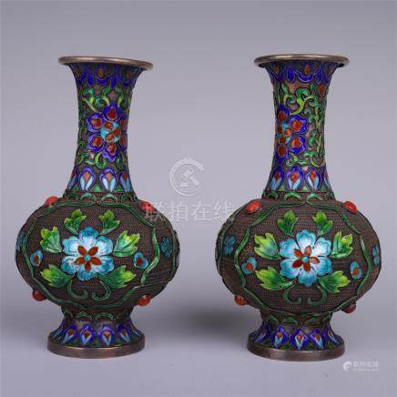 PAIR OF CHINESE ENAMLE FLOWER VASES