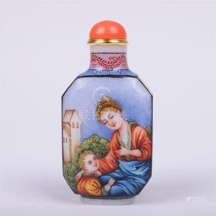 CHINESE PAINTED PEKING GLASS SNUFF BOTTLE