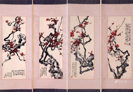 FOUR PANELS OF CHINESE SCROLL PAINTING OF PLUM BLOSSOMMING