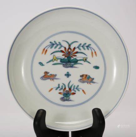"CHINESE PORCELAIN ""DOU CAI"" PLATE"