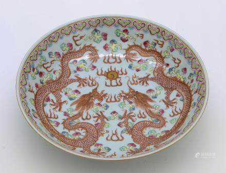 18th-19th century chinese famille rose porcelain plate