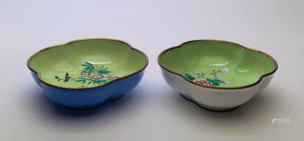A pair of cloisonne plate