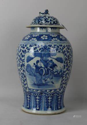 Qing dynasty blue&white cover jar