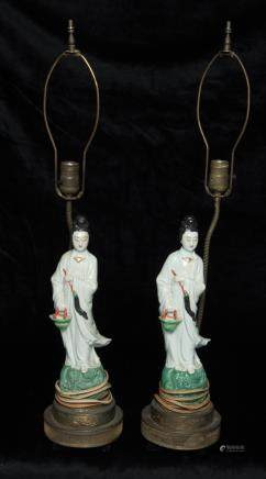 Pair of chinese porcelain KuanYin lamps
