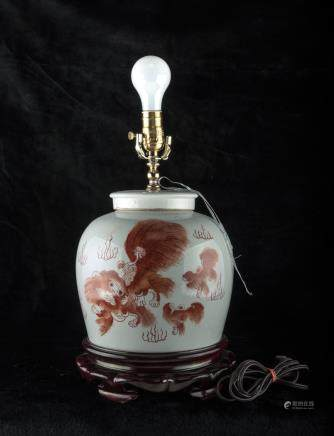 Chinese porcelain jar as lamp