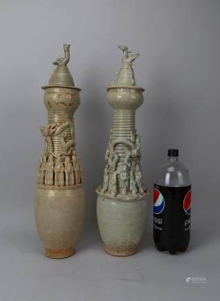 2 Yuan style pottery temple vase