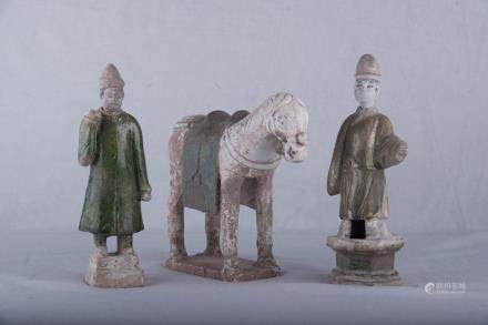 Ming dynasty pottery horse with two officers