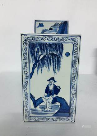 A chinese blue&white square jar