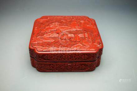 Early 20th Century Carved Cinnabar Lacquer Square Box