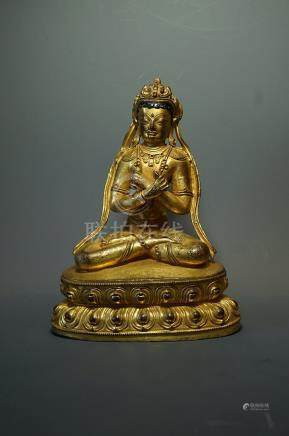 Middle Qing Dynasty, A Gilt-bronze Vajradhara statue