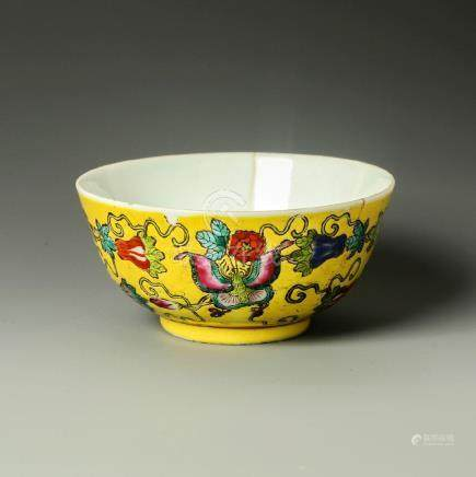 Old Chinese Yellow Crane Panting Bowl