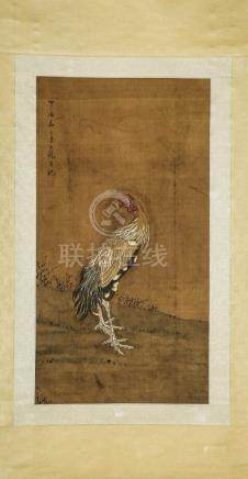 A Chinese Ink and Color Scrolling Painting on Silk