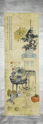 A Chinese Ink and Color Scrolling Painting