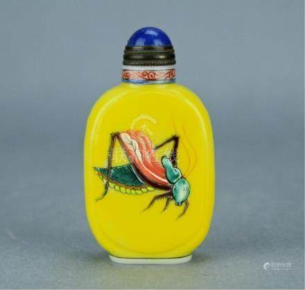 Qing Famille Rose Cricket Snuff Bottle QianLong