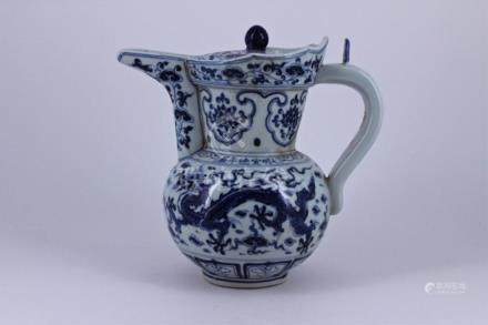 Ming Blue&White Dragon Porcelain Pot