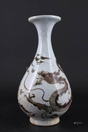 Chinese Ming Porcelain Red White Porcelain Vase