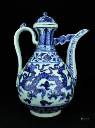 Large Chinese Ming Porcelain Blue&White TeaPot