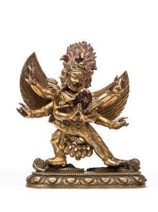 清中期 銅鎏金馬頭明王像 18世紀