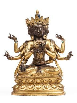 清中期 銅鎏金尊勝佛母像