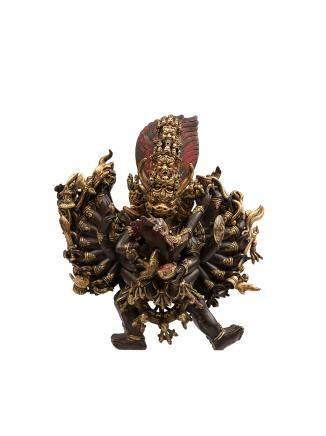 清 銅鎏金大威德金剛像