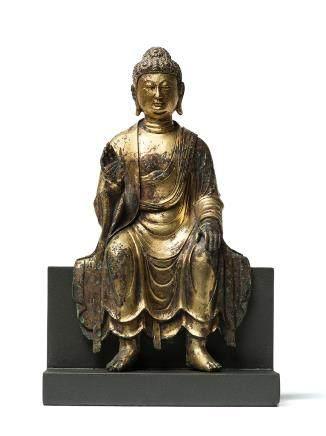唐 銅鎏金彌勒菩薩坐像