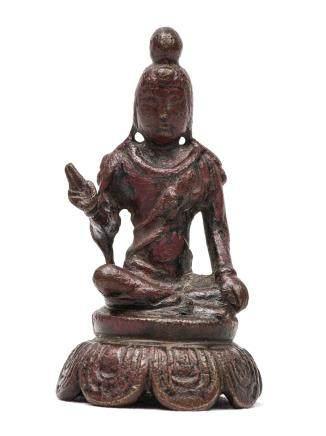五代 銅漆金菩薩坐像