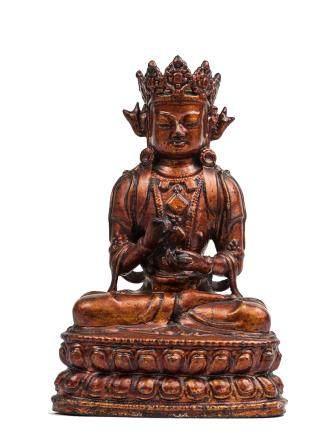 元 銅鎏金說法文殊菩薩坐像